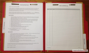 Client Folder Sample - labor and Birth Paperwork