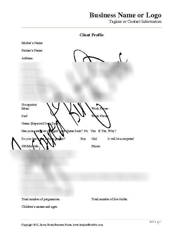 Client intake form for birth doulas printable sample of the client intake form to e mail pronofoot35fo Images